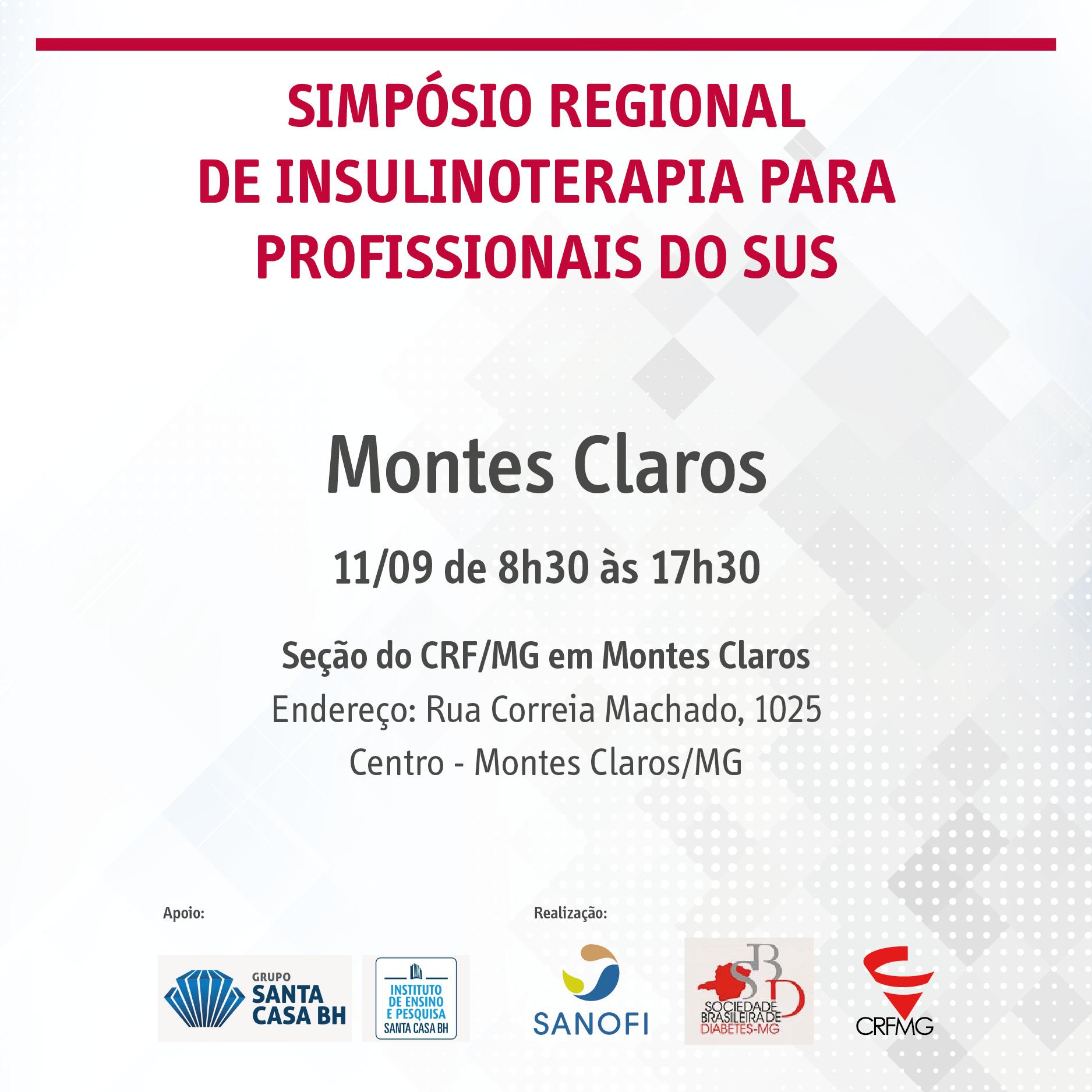 Inscrições para o Simpósio Regional de Insulinoterapia para Profissionais do SUS em Montes Claros já estão abertas